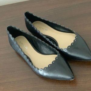 Coach Studded Black Leather Flats